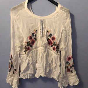 P.E.T.A.L.S Embroidered Peasant Blouse